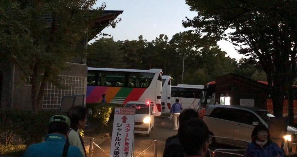 松本マラソン スカイパークのシャトルバス乗り場