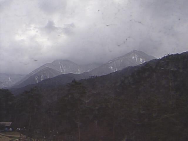 安曇野市蝶ヶ岳温泉の温泉ホテルからの常念岳(2019年1月22日)
