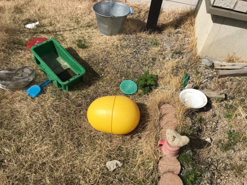 庭に散乱したゴミ