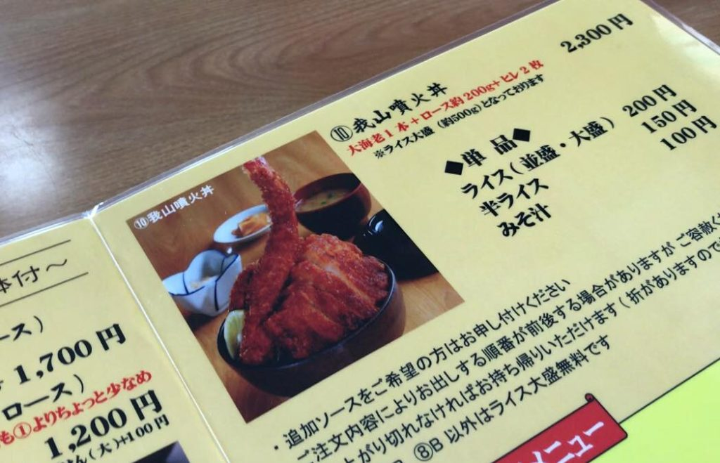 松本市 ソースかつ丼 我山の我山噴火丼